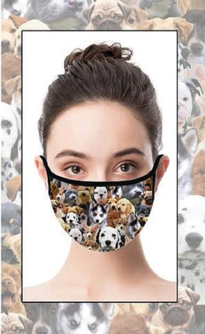 Puppies Face Cover with Adjustable Nose Bridge and Ear Straps | 2 Layers of Protection | Water Resistant