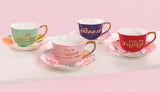I Like Little Cups and I Cannot Lie Tea Cup and Saucer Set in Mint, Floral and Gold