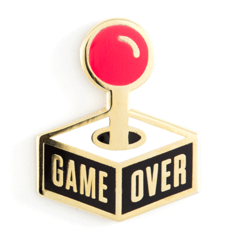 Game Over Enamel Pin with Metallic Gold Accents