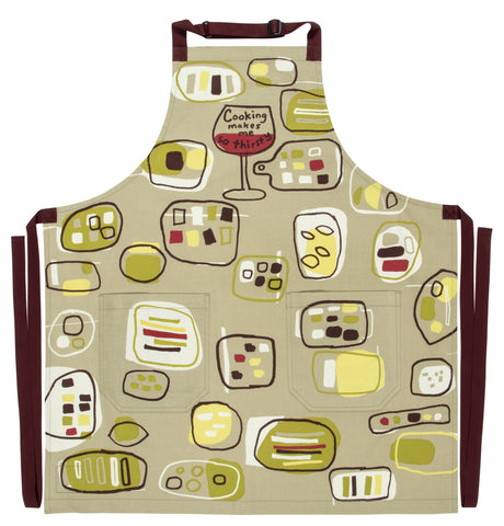 Cooking Makes Me So Thirsty Apron in Wine Motif Retro Funny / Cute / Cool Apron with Pockets BBQ /Grill / Cooking Country Novelty Cute Old Fashioned Apron