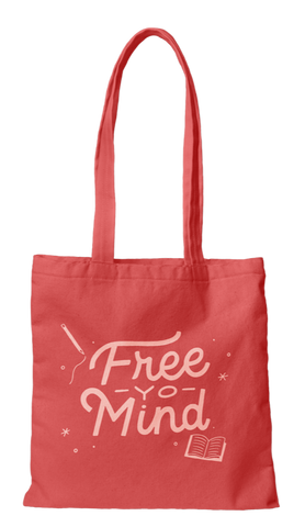 Free Yo Mind Canvas Tote Bag in Coral | Cute Canvas Bags for Work or School