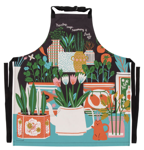 Parsley, Sage, And Rosemary and Fuck Off Retro Funny / Sweary Profanity / Cute / Cool Apron with Pockets BBQ / Grill / Cooking Country Novelty Old Fashioned Apron