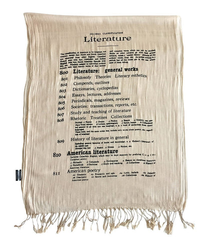Dewey Decimal Scarf. Literary Print Luxe Weight Fringed Scarf