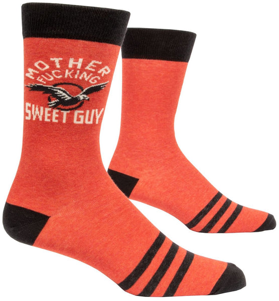 Mother Fucking Sweet Guy Men's Crew Socks, Hipster/Nerdy/Geeky/Trendy, Funny Novelty Socks with Cool Design, Bold/Crazy/Unique Specialty Dress Socks