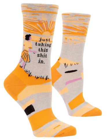 Just Taking This Shit In Women's Crew Socks, Hipster/Nerdy/Geeky/Trendy, Funny Novelty Socks with Cool Design, Bold/Crazy/Unique Quirky Dress Socks