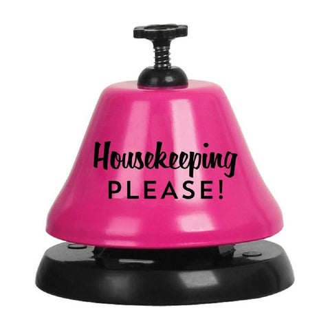 Housekeeping Please Bar Top Bell in Pink and Black