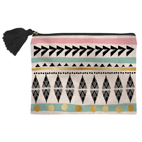 Colorful Geometric Pattern Cosmetic Bag Set of 6 - Trendy Chic Pink Metallic Tassel Boho Chic