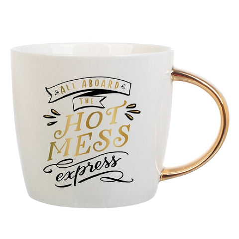 All Aboard The Hot Mess Express Coffee Mug | Curvy Gold Handle | Porcelain