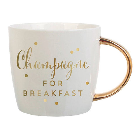Champagne For Breakfast with Gold Lettering | Curvy Gold Handle | Porcelain