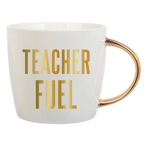 Teacher Fuel with Gold Lettering | Curvy Gold Handle | Porcelain