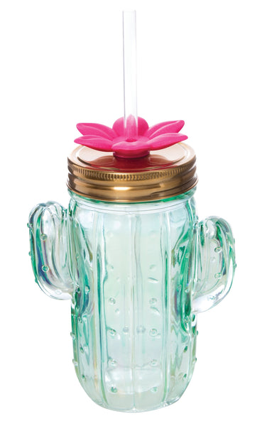 Cactus Glass Mason Jar Sipper with Straw