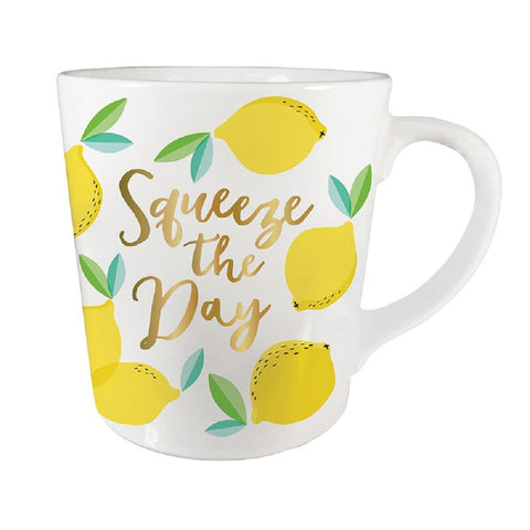Squeeze The Day Lemon Coffee Mug | Porcelain