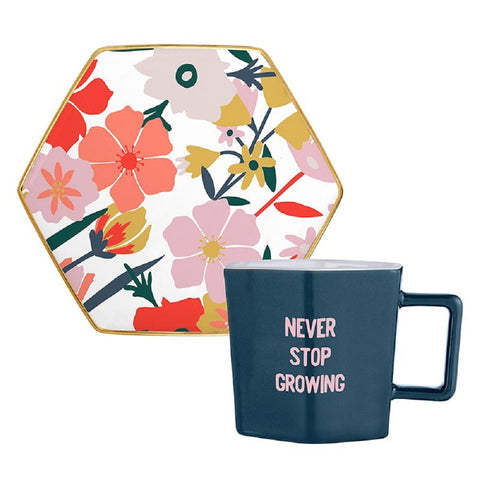 Never Stop Growing Hexagon Mug and Saucer Set in Floral Design