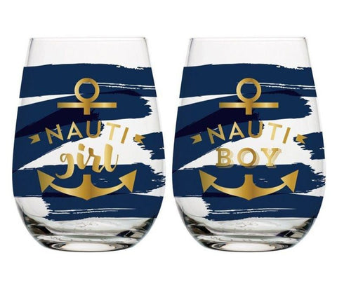 Nauti Girl and Nauti Boy Stemless Wine Glass Set in Nautical Design