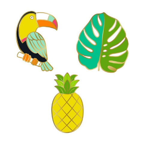 Toucan, Leaf, and Pineapple Enamel Pins | Set of 3 in Coordinated Colors