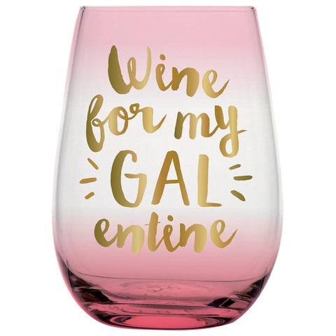 Wine for My Galentine Wine Glass | Holds 20 oz. | Pink Ombré with Metallic Gold | Bulk Discount - Buy 2+ and Save, No Code Needed