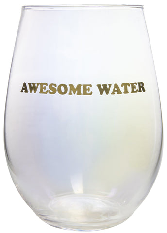 Awesome Water Clear Stemless Iridescent Wine Glass in Gold Lettering