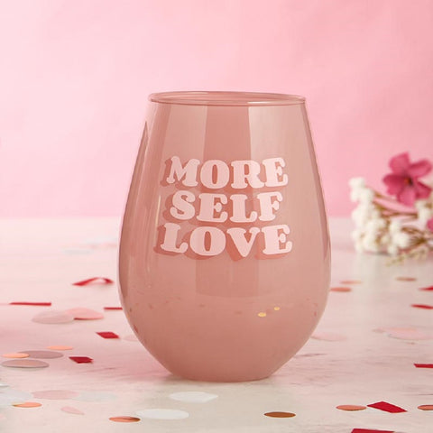 More Self Love Jumbo Stemless Wine Glass in Pink | 30 Oz Size Holds an Entire Bottle of Wine!