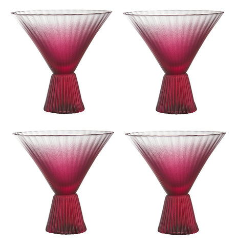 Beveled Martini Glass in Burgundy | Set of 4
