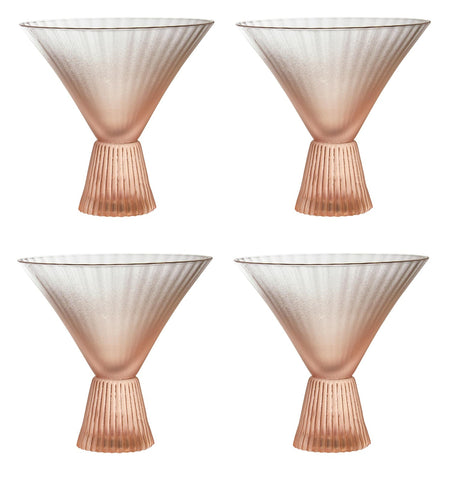 Beveled Martini Glass in Peach | Set of 4