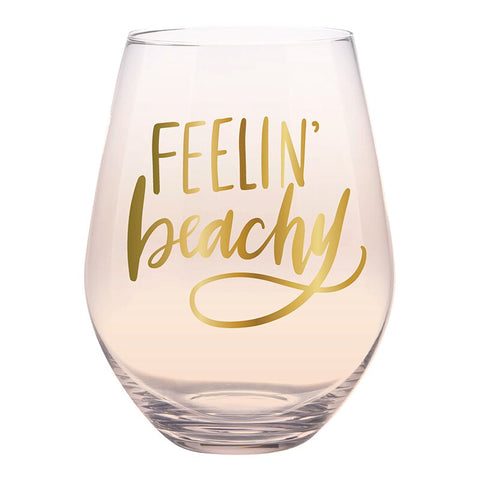Feelin' Beachy Jumbo Stemless Wine Glass in Peach Tinted Glass | 30 Oz. | Holds an Entire Bottle of Wine