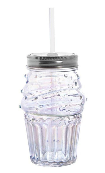 Cupcake Sipper Glass | Clear | Wine or Cocktail Glass with Straw for Indoors or Outdoors