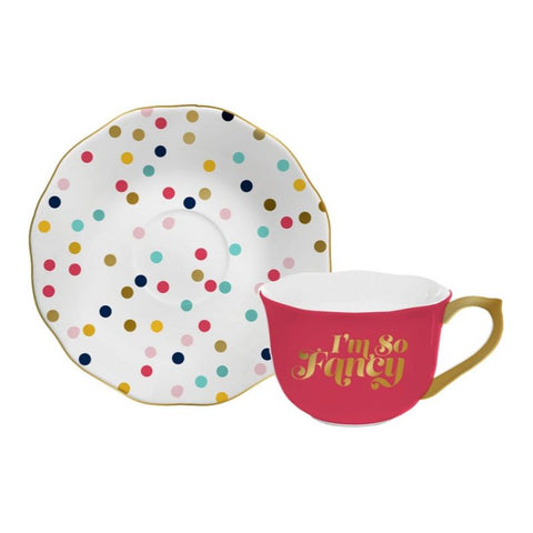 I'm So Fancy Tea Cup and Saucer Set in Red and Gold