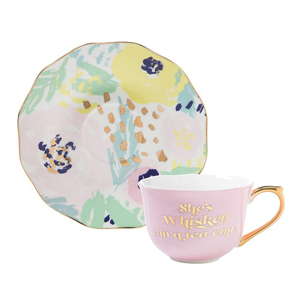 She's Whiskey in a Tea Cup and Saucer Set in Pink and Floral