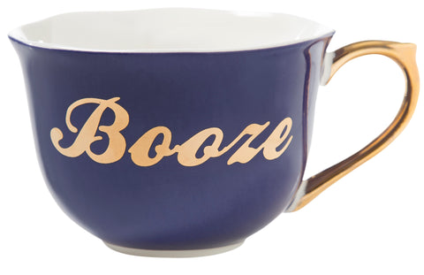 Booze Tea Cup and Saucer Set in Blue, Floral and Gold