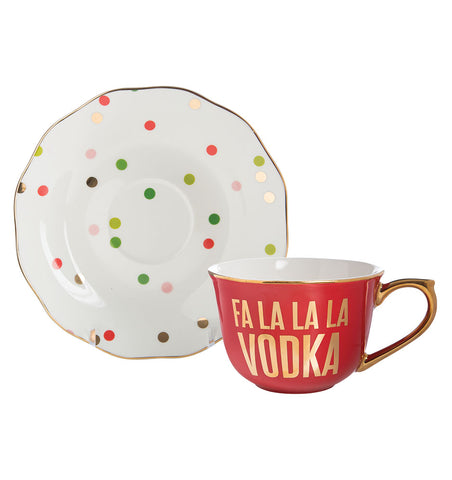 Fa La La La Vodka Tea Cup and Saucer Set in Red, Gold, and White
