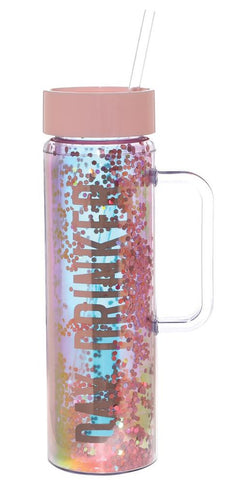 Day Drinker Water Bottle in Pink and Glitters