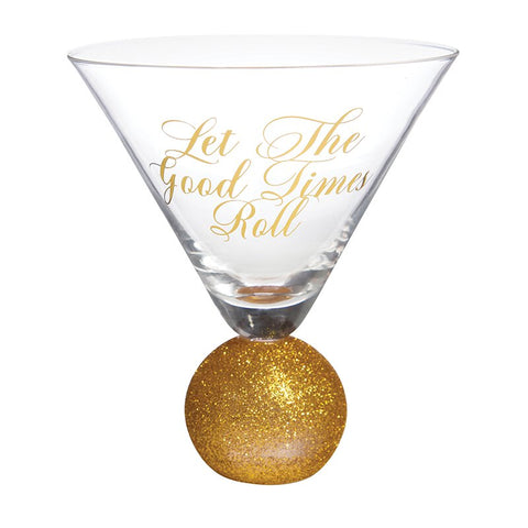 Let The Good Times Roll Martini Glass in Sparkling Gold | Absolute Baller Glitter Cocktail Glass | Bulk Discount - Buy 2+ and Save, No Code Needed