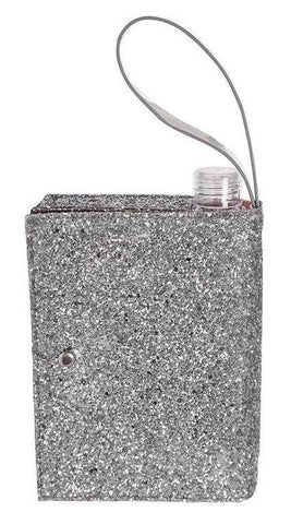 Silver Glitter Clutch Flask | 16 oz Alcohol Flask Disguised as a Purse
