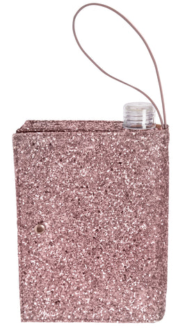 Rose Gold Glitter Clutch Flask | 16 oz Alcohol Flask Disguised as a Purse