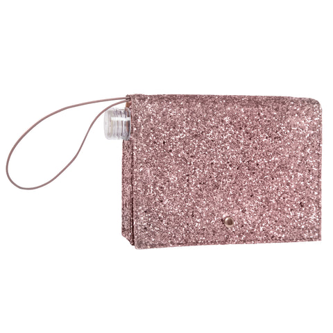 Clear Flask and Rose Gold Glitter Clutch Combo