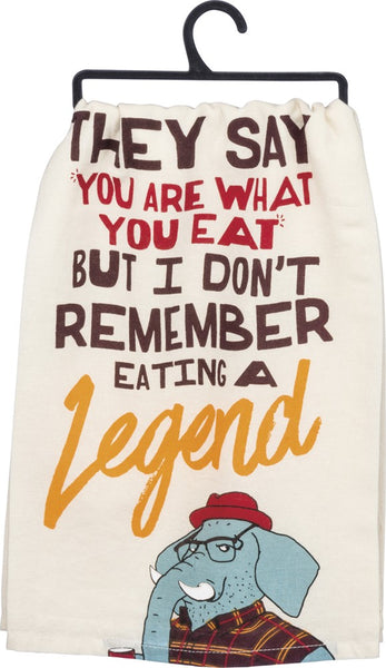 What You Eat Elephant Bright Multicolored Funny Snarky Dish Cloth Towel / Novelty Silly Tea Towels / Cute Hilarious Kitchen Hand Towel