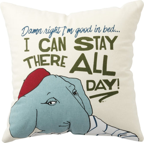 Good in Bed Square Pillow with Soft Blue Elephant