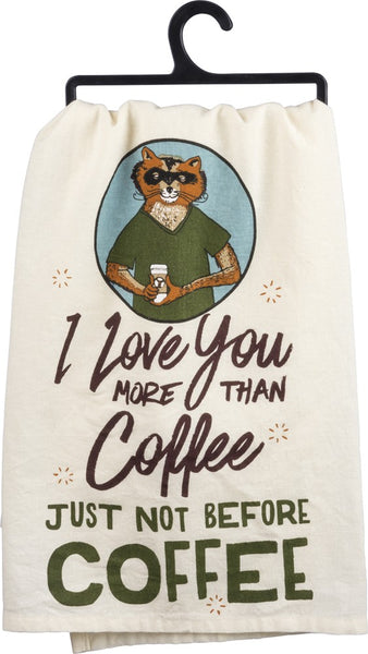 I Love You More Than Coffee Fox Multicolored Funny Snarky Dish Cloth Towel / Novelty Silly Tea Towels / Cute Hilarious Kitchen Hand Towel