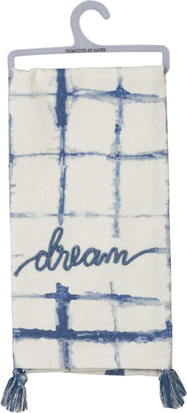 Dream Indigo Dyed Bright Blue Farmhouse Dish Cloth Towel / Novelty Tea Towels / Cute Kitchen Hand Towel