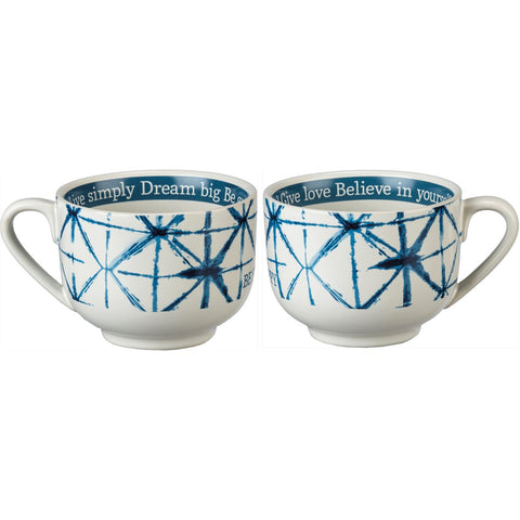 Shibori Be Happy Indigo Dyes Stoneware Coffee Mug