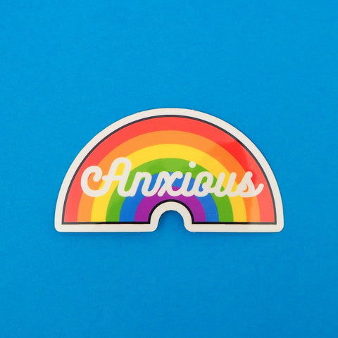 Anxious Vinyl Sticker With Rainbow Design
