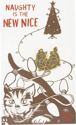 Naughty is the New Nice Cat Enamel Pin
