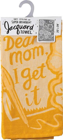 "Dear Mom, I Get It Funny Snarky Yellow Dish Cloth Towel | Ultra Soft and Absorbent Jacquard | All-Over Design | Unfolds 20"" x 28"" 