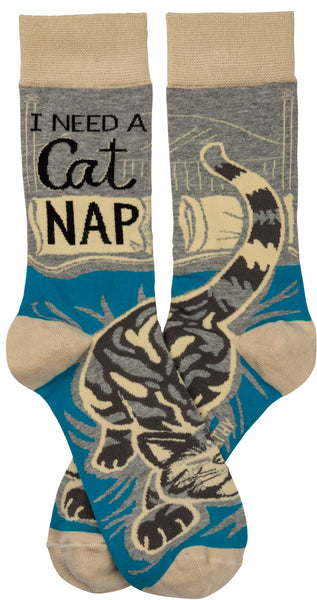 I Need A Cat Nap Crew Socks With Sleeping Cat Design