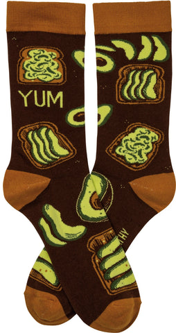 Avocado Toast Yum Crew Novelty Socks with Cool Design, Bold/Crazy/Unique Specialty Dress Socks
