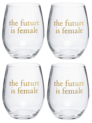 The Future Is Female Stemless Wine Glass with Cylinder Box - Pack of 4