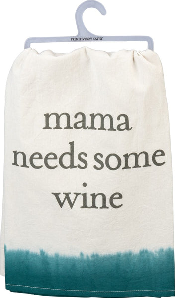 Mama Needs Some Wine Bright Funny Snarky Dish Cloth Towel / Novelty Silly Tea Towels / Cute Hilarious Farmhouse Kitchen Hand Towel