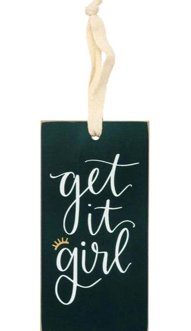 Get It Girl Wooden Wine Bottle Tag in Blush and Emerald Palette
