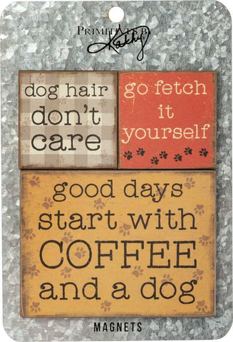 Good Days Start with Coffee and a Dog | Three Rustic-Inspired Wooden Dogs Magnet Set on a Metal Gift Backing