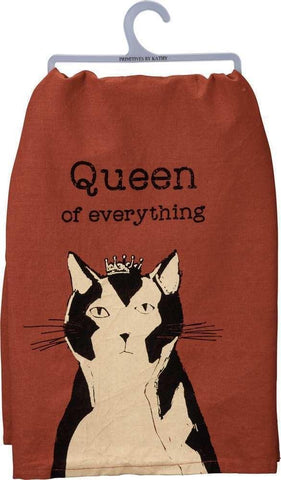 Queen Of Everything Dish Towel in Brown With Cat And Crown Design